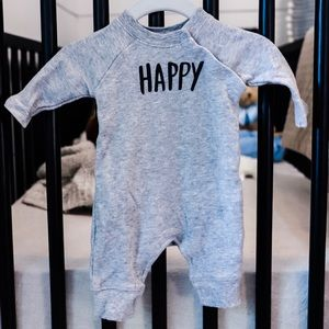 "Gymboree Newborn Gray ""Happy"" Romper"